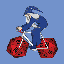 Wizard riding bike with 20 sided die wheels, 5x5 print