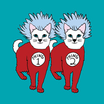 Cat Thing 1 and Thing 2, 5x5 print