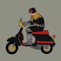 Judge Dredd riding a Vespa, 5x5 print
