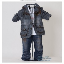 IN STOCK 1 Y to 3Y  Boys 3 Piece Suit Coat Top and Jeans Brown and Black Stripe Jacket Coat