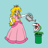 Princess Peach watering killer tube plant, 5x5 print