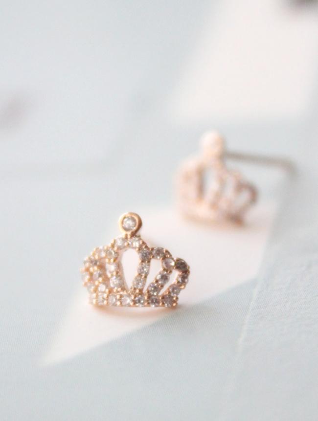 noirlu 925 silver crown stud earrings store