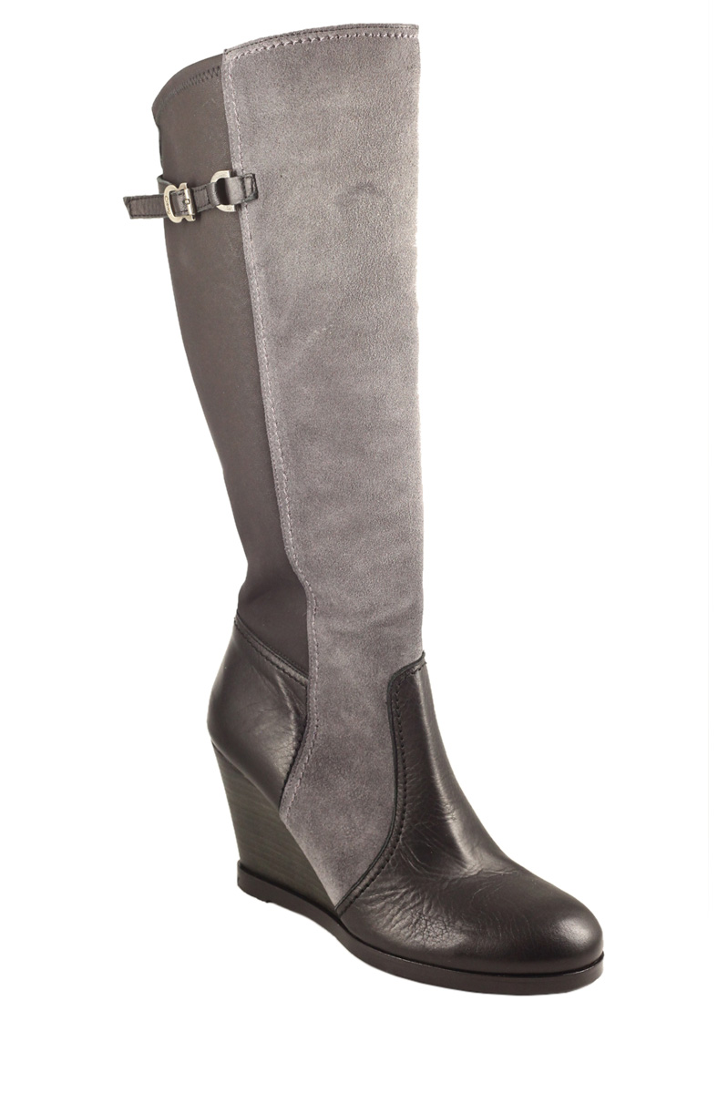 cressy calf high wedge boot leather and suede black and