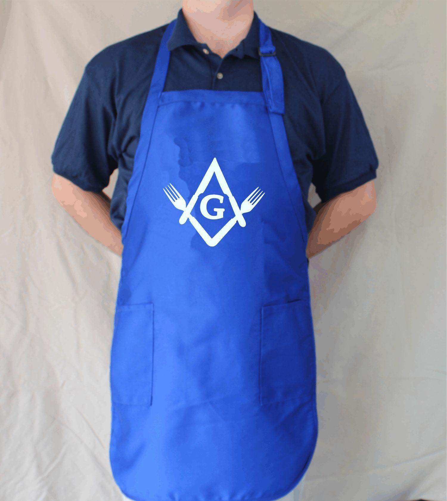 White apron in store - Masonic Bbq Apron Knife Fork Degree Royal Blue W White Print