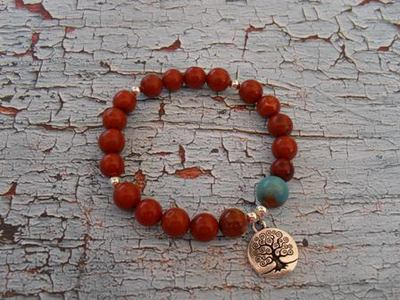 Natural red jasper healing stone bracelet with tree of life bracelet
