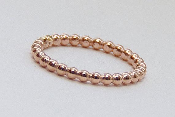 Rose Gold Rings Rose Gold Bead Ring Rose Gold Eternity Band
