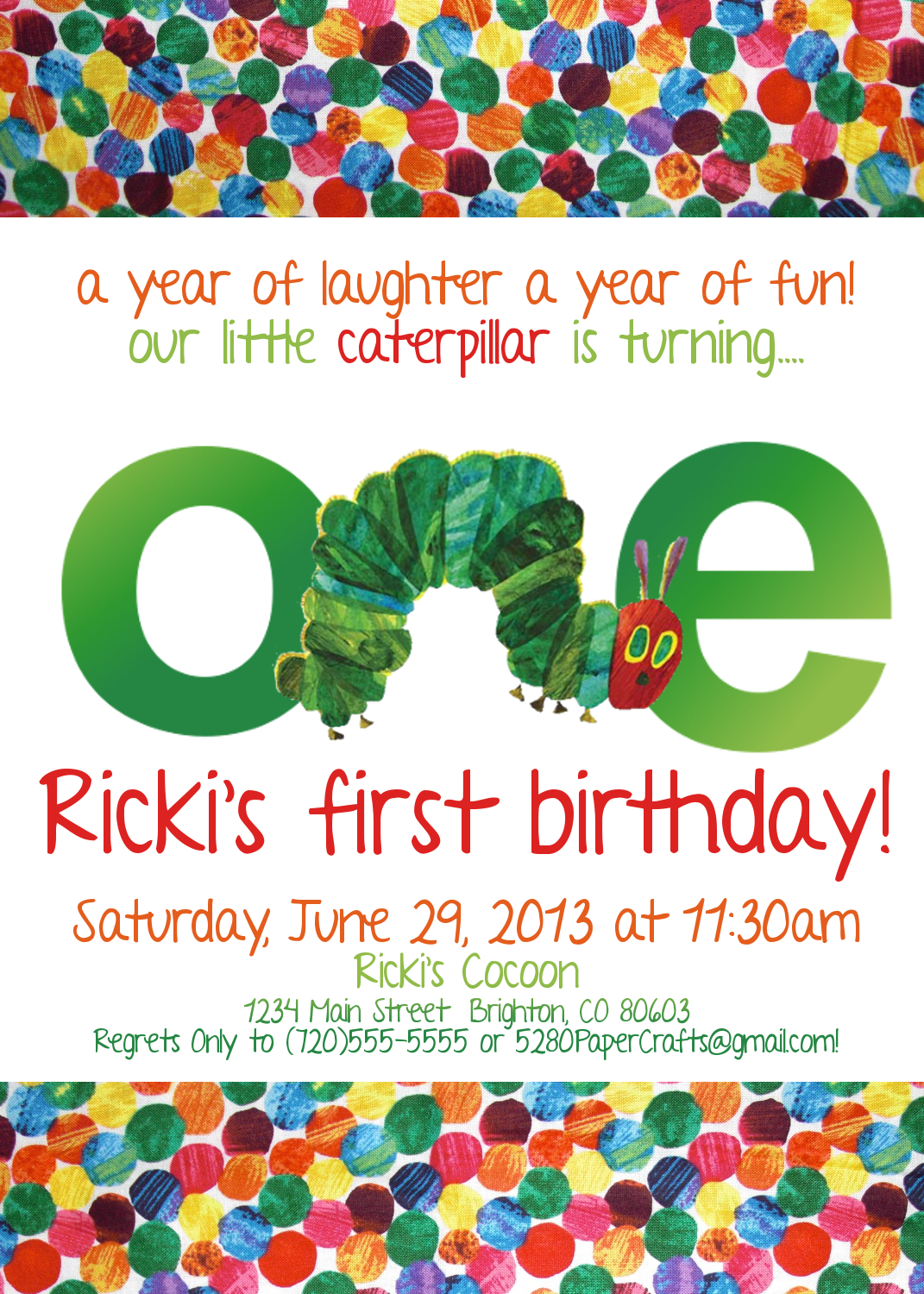 Very Hungry Caterpillar Invitation You Print On Storenvy