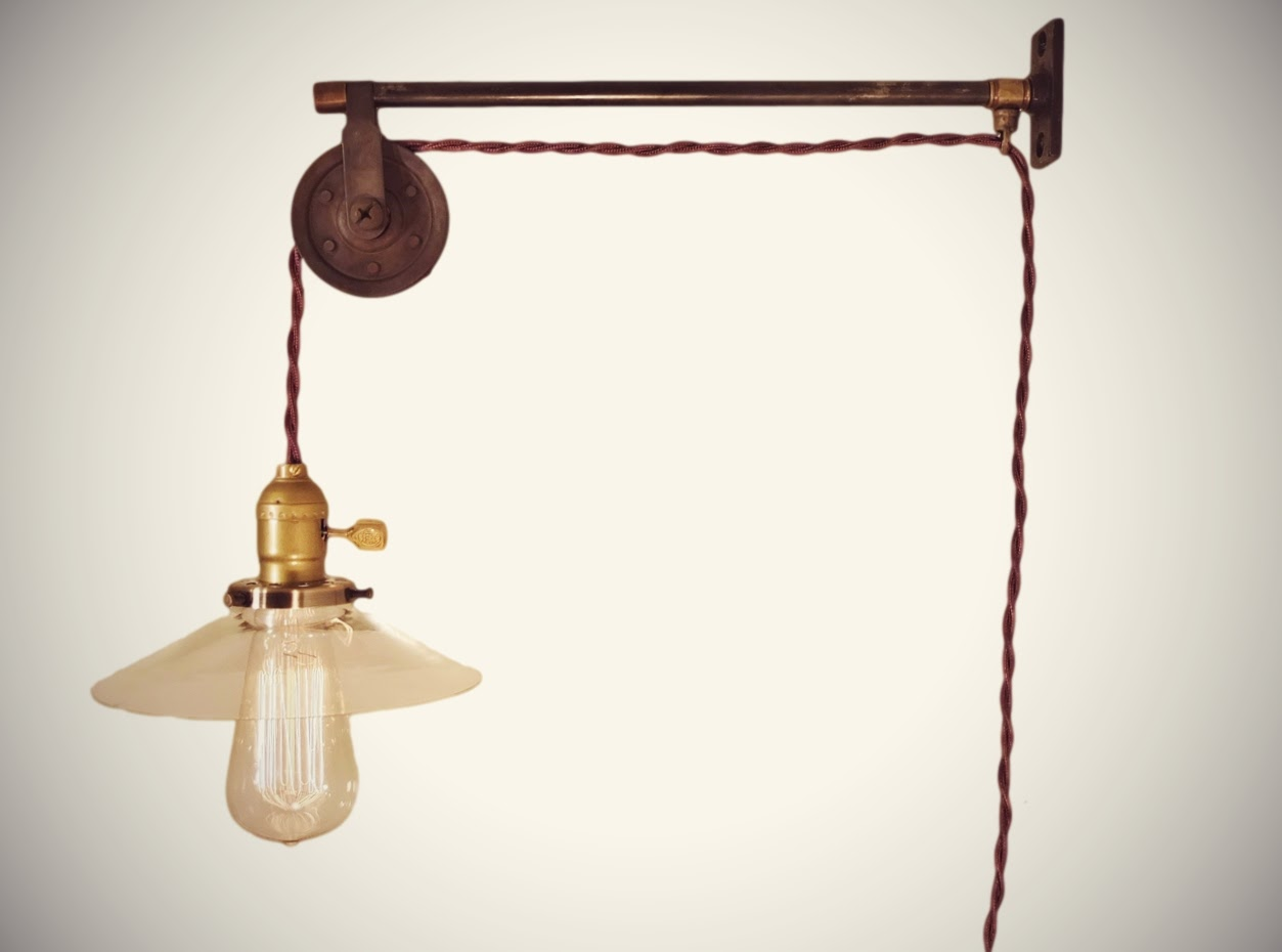 Vintage French Industrial Pulley Lamp W/ Glass Shade