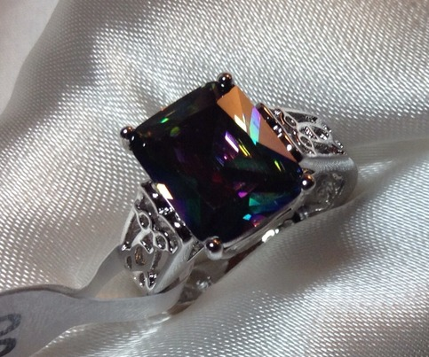 Emerald Cut Solitaire Mystic Topaz Ring On Storenvy