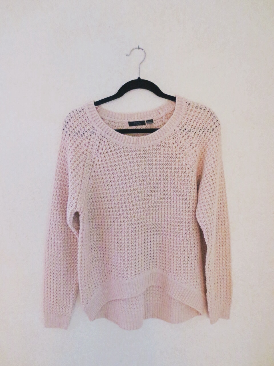 Baby-pink waffle-knit sweater on Storenvy
