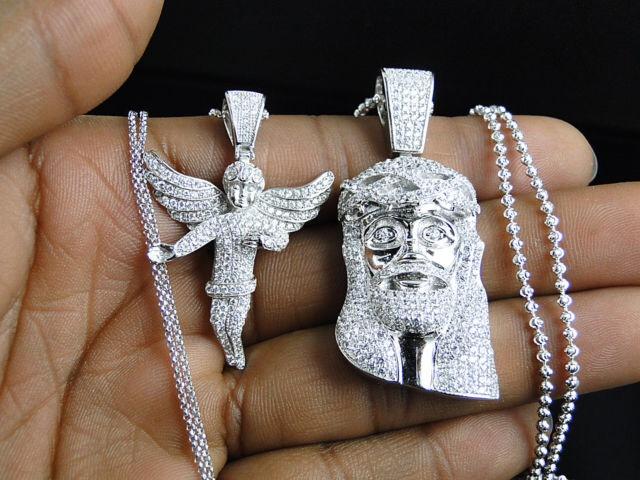 Angel jesus piece lab diamond pendant chain white gold finish angel jesus piece lab diamond pendant chain white gold finish thumbnail aloadofball Image collections