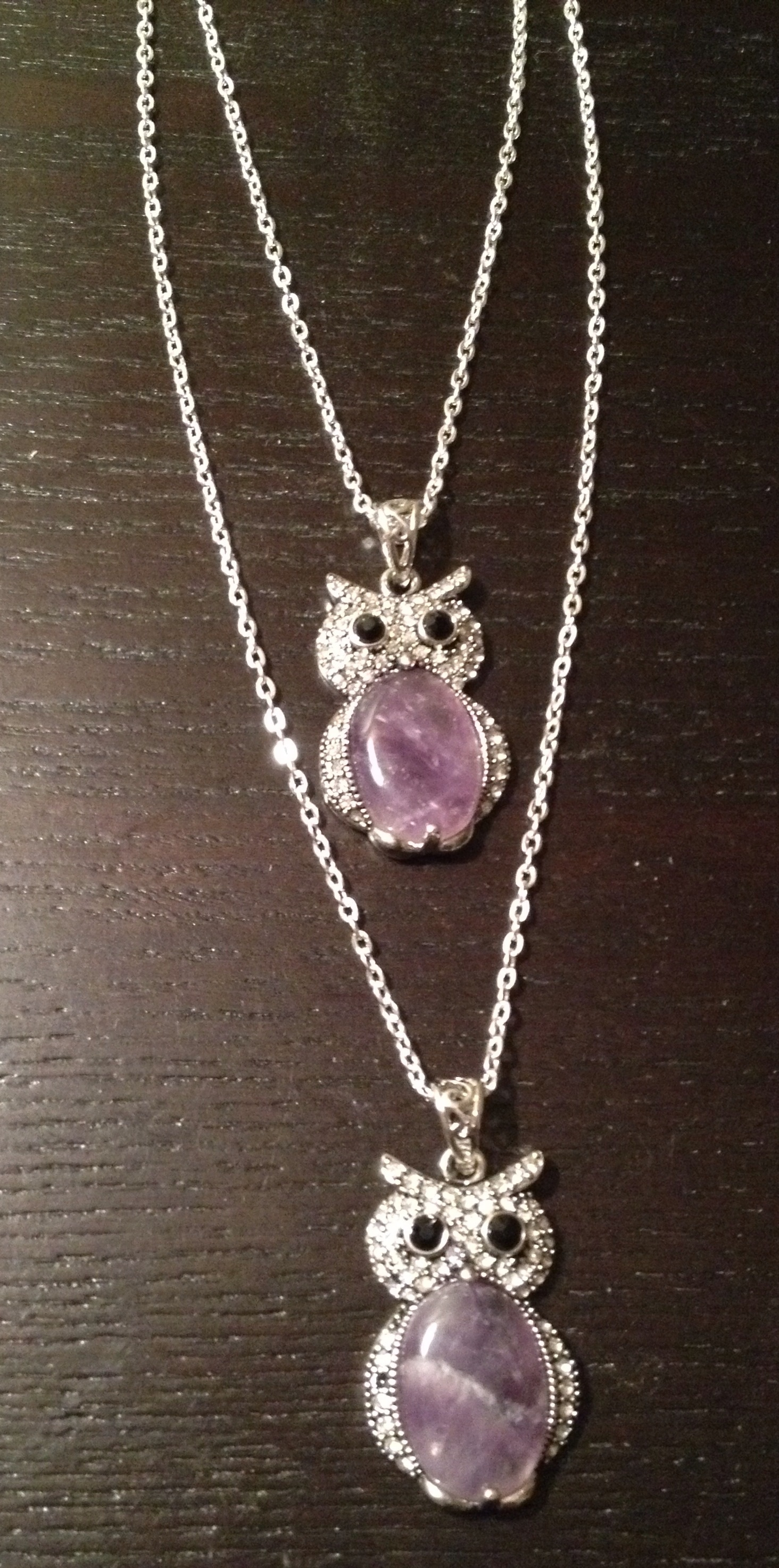 Mother/Daughter Matching Necklaces - Natural Amethyst Owls on Storenvy