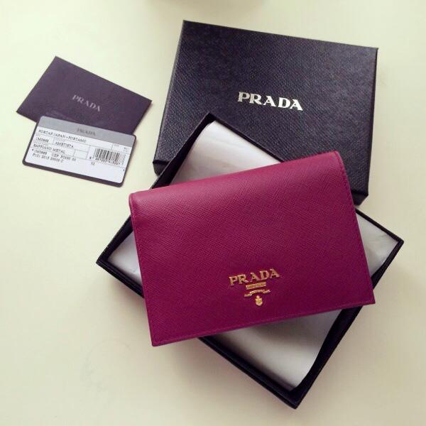 015f50afaf9b14 PRADA Saffiano Ametista Bi-Fold Wallet on Storenvy