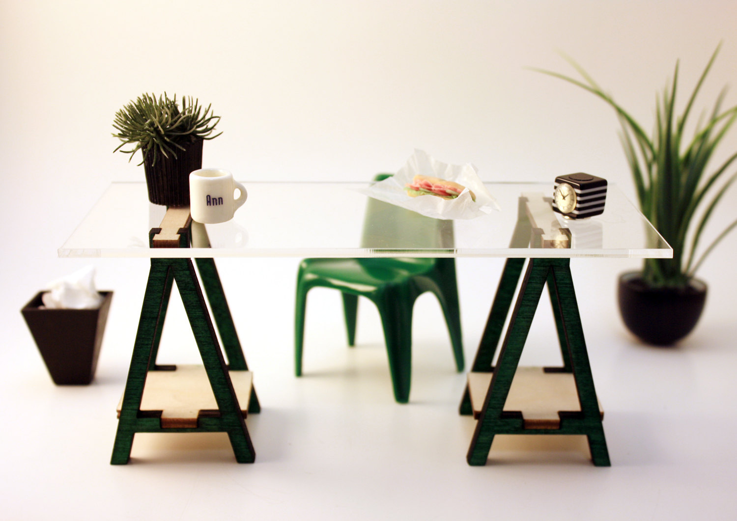 Miniature Ikea Inspired Vika Desk Kit For 1 12 Scale Modern Dollhouse In Wood From Amazing Miniatures