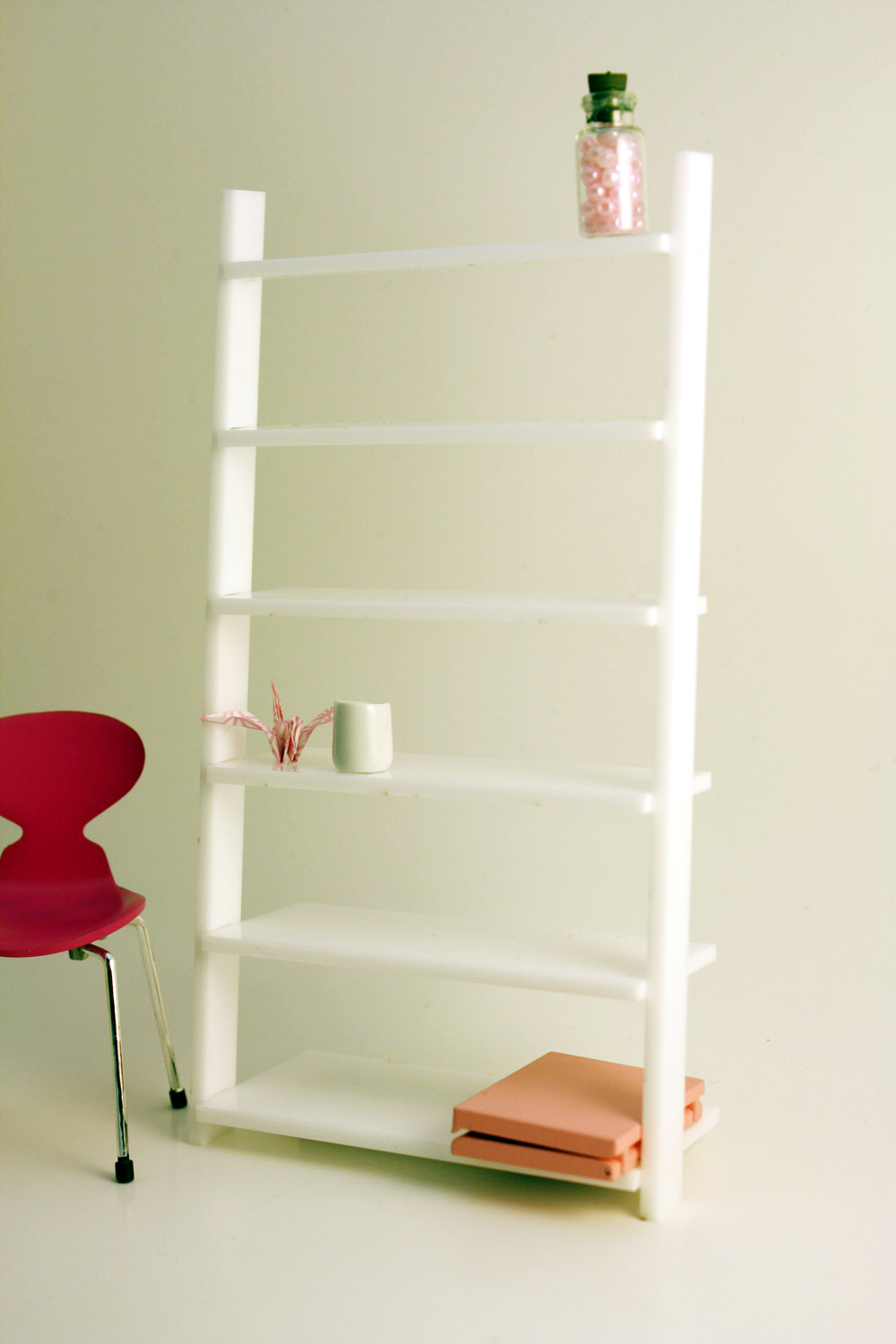 Miniature Modern Wall Leaning Bookcase White Acrylic In 1 12 One Inch Scale For Your Modern And Contemporary Dollhouse From Amazing Miniatures