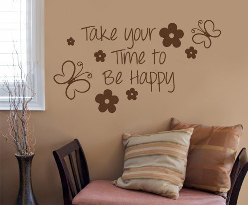 take your time to be happy quote sticker home decor