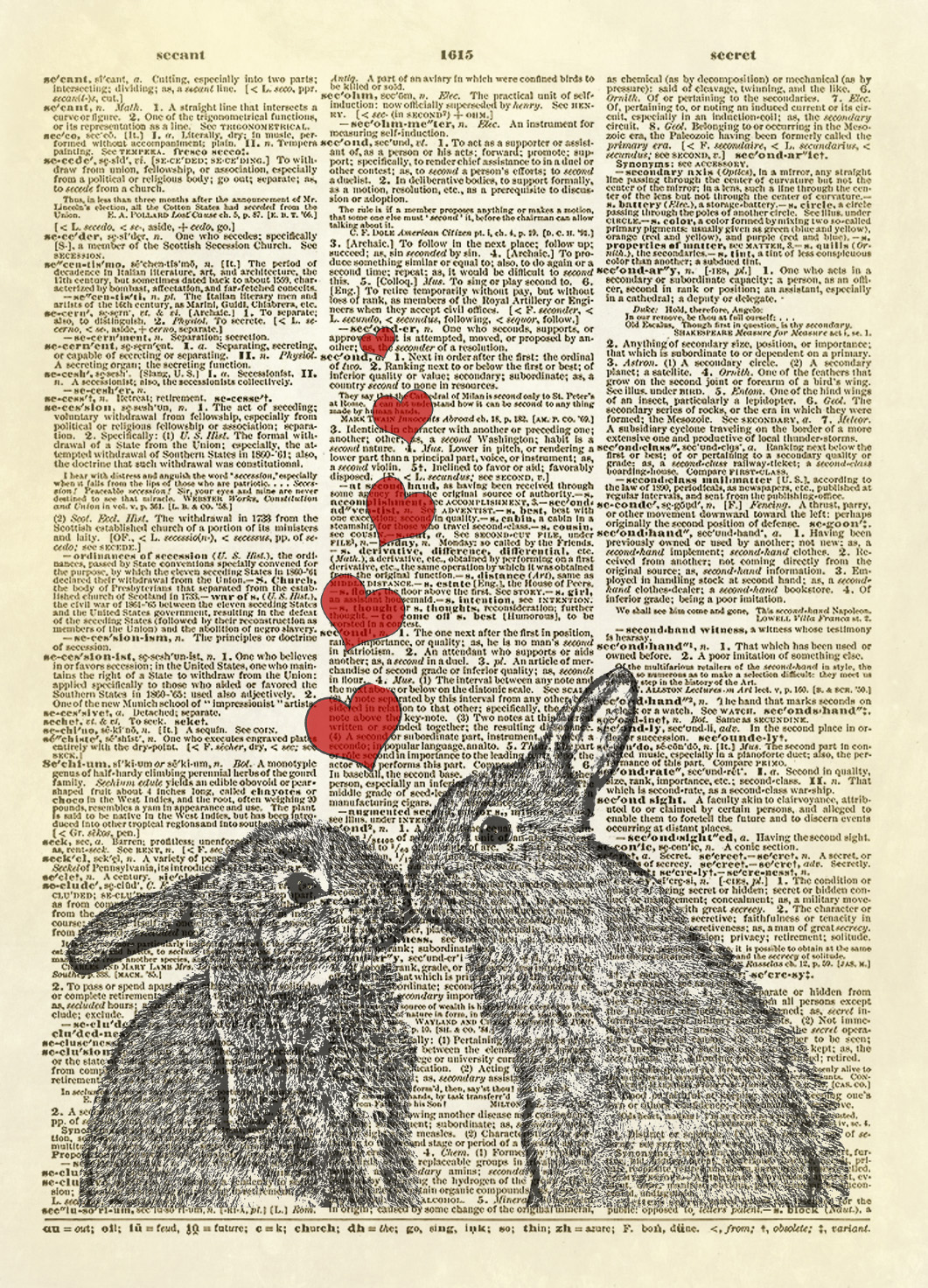 Bunnies In Love Dictionary Art Print No 326 On Storenvy
