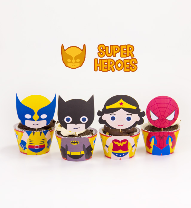 graphic about Superhero Cupcake Toppers Printable named Superhero Encouraged Cupcake Toppers Wrappers Birthday Get together Printables Electronic Down load Do it yourself towards Marron Studio
