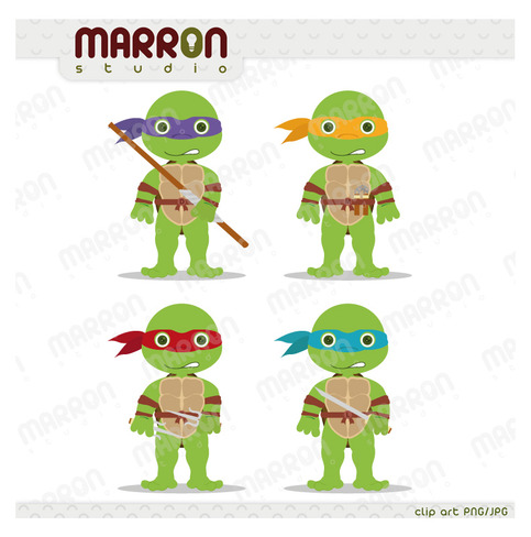 Teenage Mutant Ninja Turtles Inspired Leonardo Donatello Raphael And Michaelangelo Clip Art