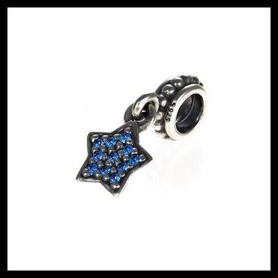 "4ed4e5f5e Authentic pandora ""pave star dangle"" blue cz .925 sterling silver  european charm"