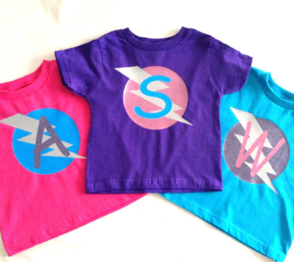 6ec57b44 Girls Glittery Personalized Superhero T-Shirt, Custom Super Hero Shirt with  Lightening Bolt and