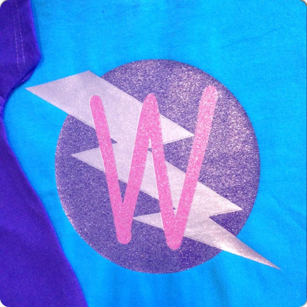 1f37ffc21 Girls Glittery Personalized Superhero T-Shirt, Custom Super Hero Shirt with  Lightening Bolt and ...
