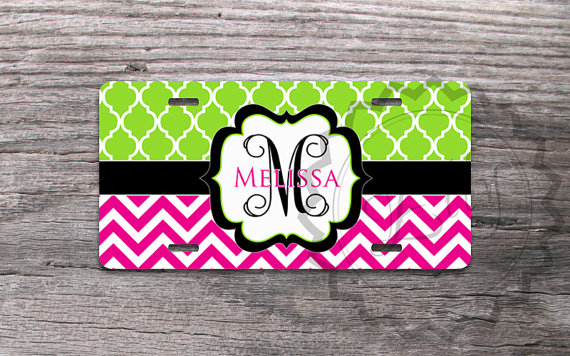 license plate - lime green quatrefoil and magenta chevron