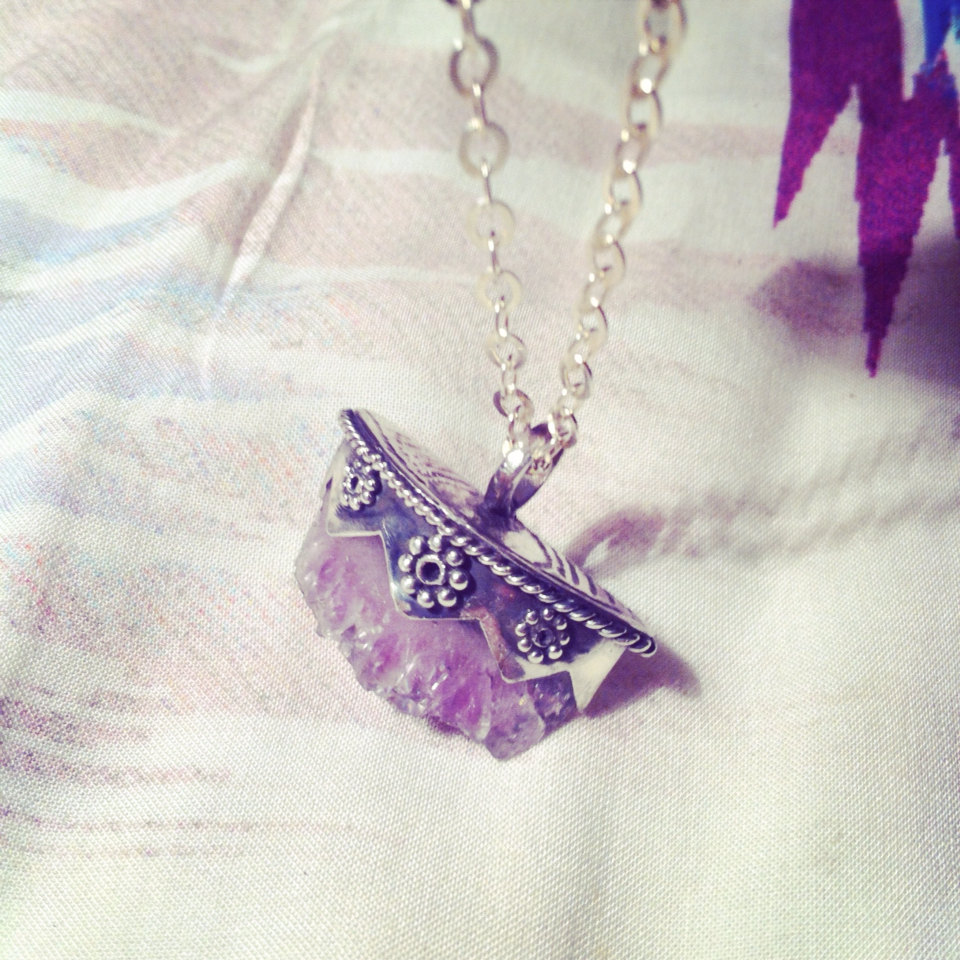 Sterling silver raw amethyst crystal necklace bohemian pendant r1 original aloadofball Image collections