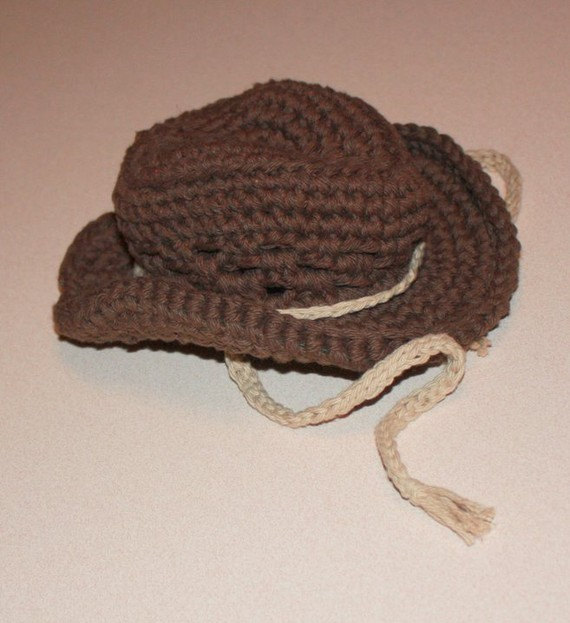 Cowboy Hat Crochet Chocolate Brown And Jute Newborn Infant