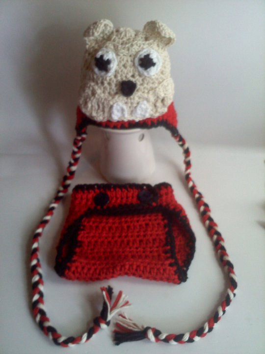 7e34658c6c831 Diaper Cover and Hat Set - Georgia Bulldog Crochet Earflap Beanie and  Diaper Cover - Choose