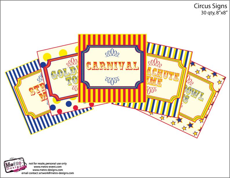 photograph relating to Printable Carnival Signs called Circus/Carnival Indicators: Royal Blue, Pink Yellow against Metro-Gatherings Celebration Elements
