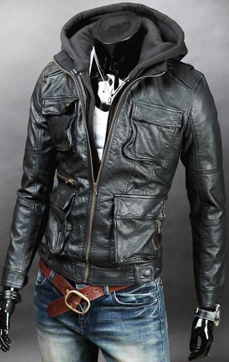 MEN DETACHABLE FABRIC HOODED LEATHER JACKET on Storenvy