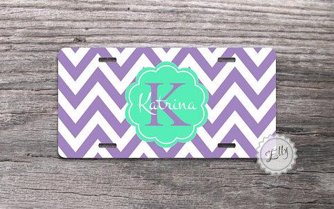 Monogrammed License Plate Cute Mint Monogram On Lavender
