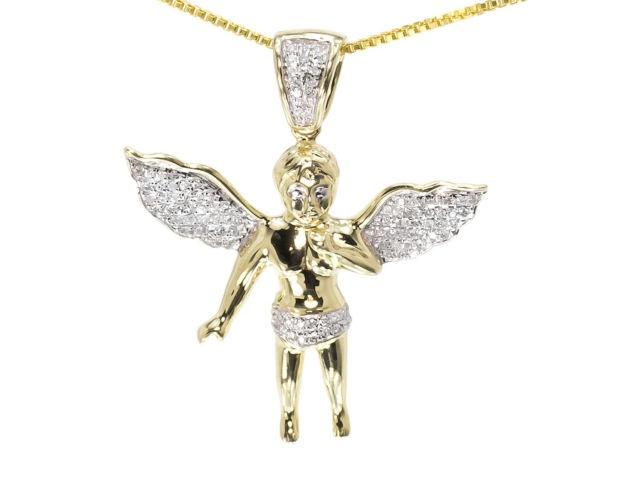 10k yellow gold mens ladies round diamond angel pendant charm 29mm 1 10k yellow gold mens ladies round diamond angel pendant charm 29mm 13ct aloadofball Image collections