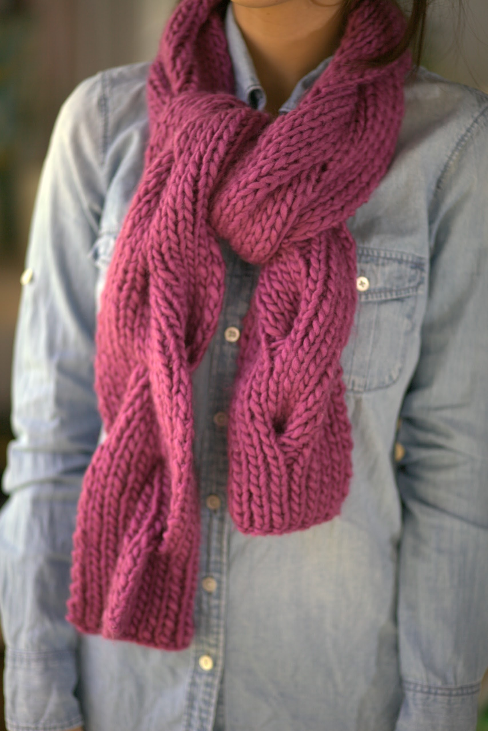 Chunky Reversible Cable Knit Scarf Magenta Kelbel S Shop Online