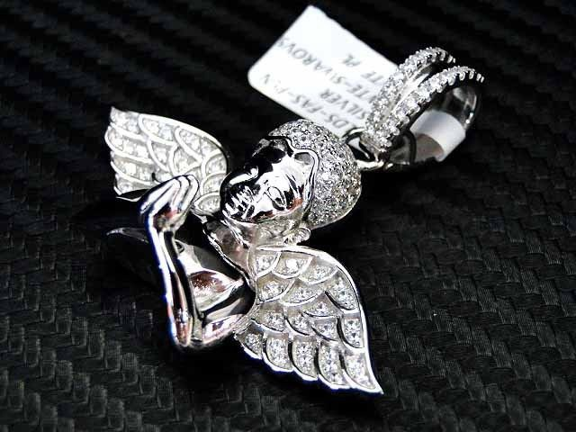 Micro pave sterling silver 925 fancy angel pendant charm cherub wing micro pave sterling silver 925 fancy angel pendant charm cherub wing white aloadofball Images