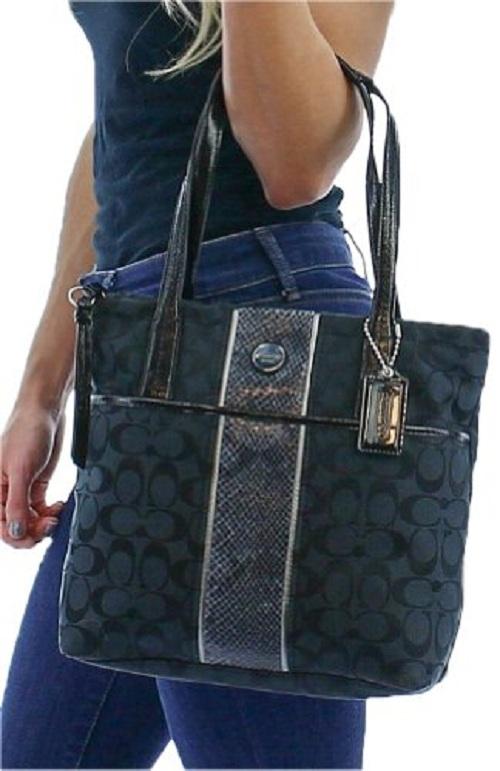 732eab7418b2 Coach Signature Python Stripe Tote--Black · Little Shop of Awesome ...