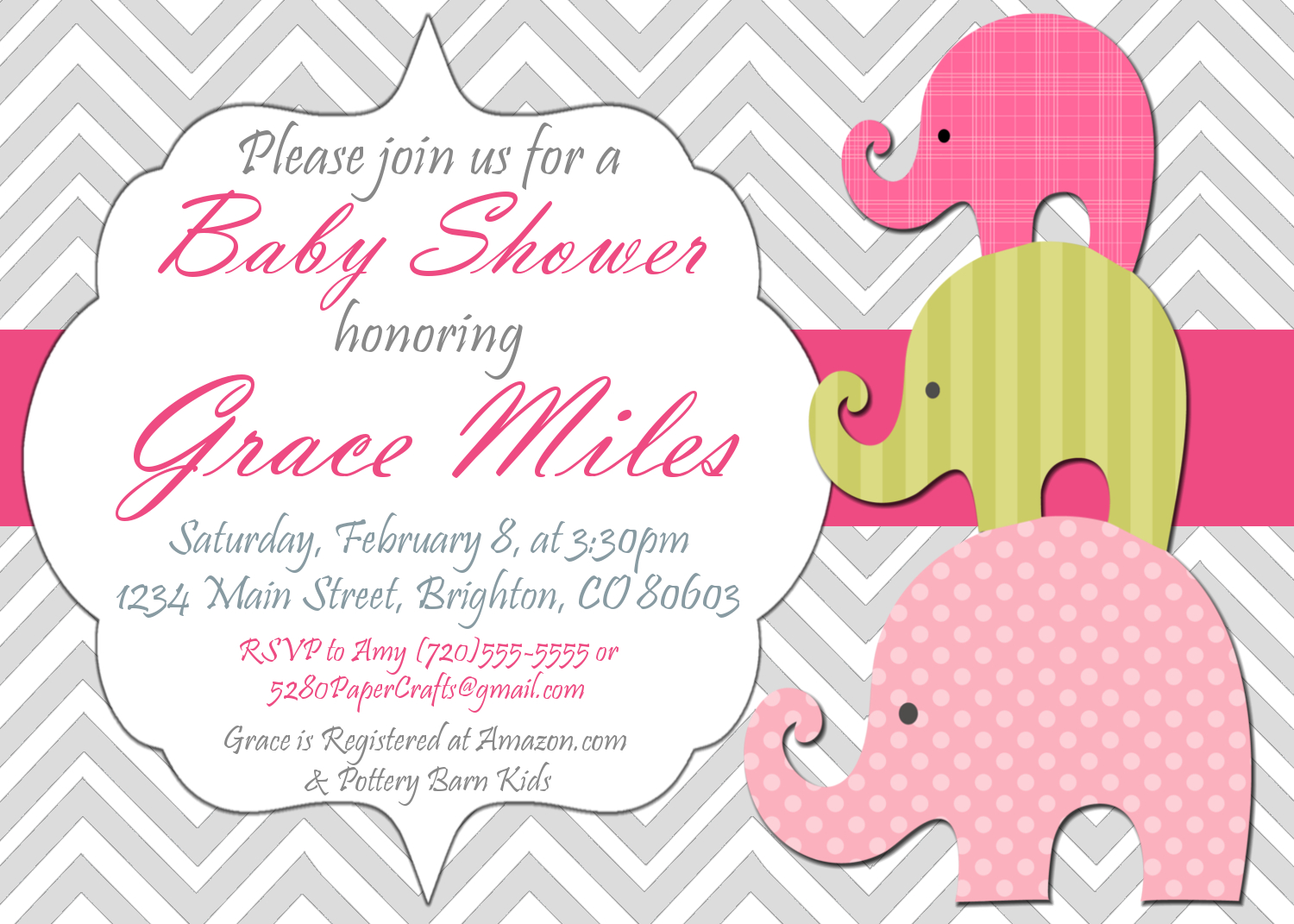 Pink Elephant Baby Shower Invitation You Print 5280 Paper Crafts