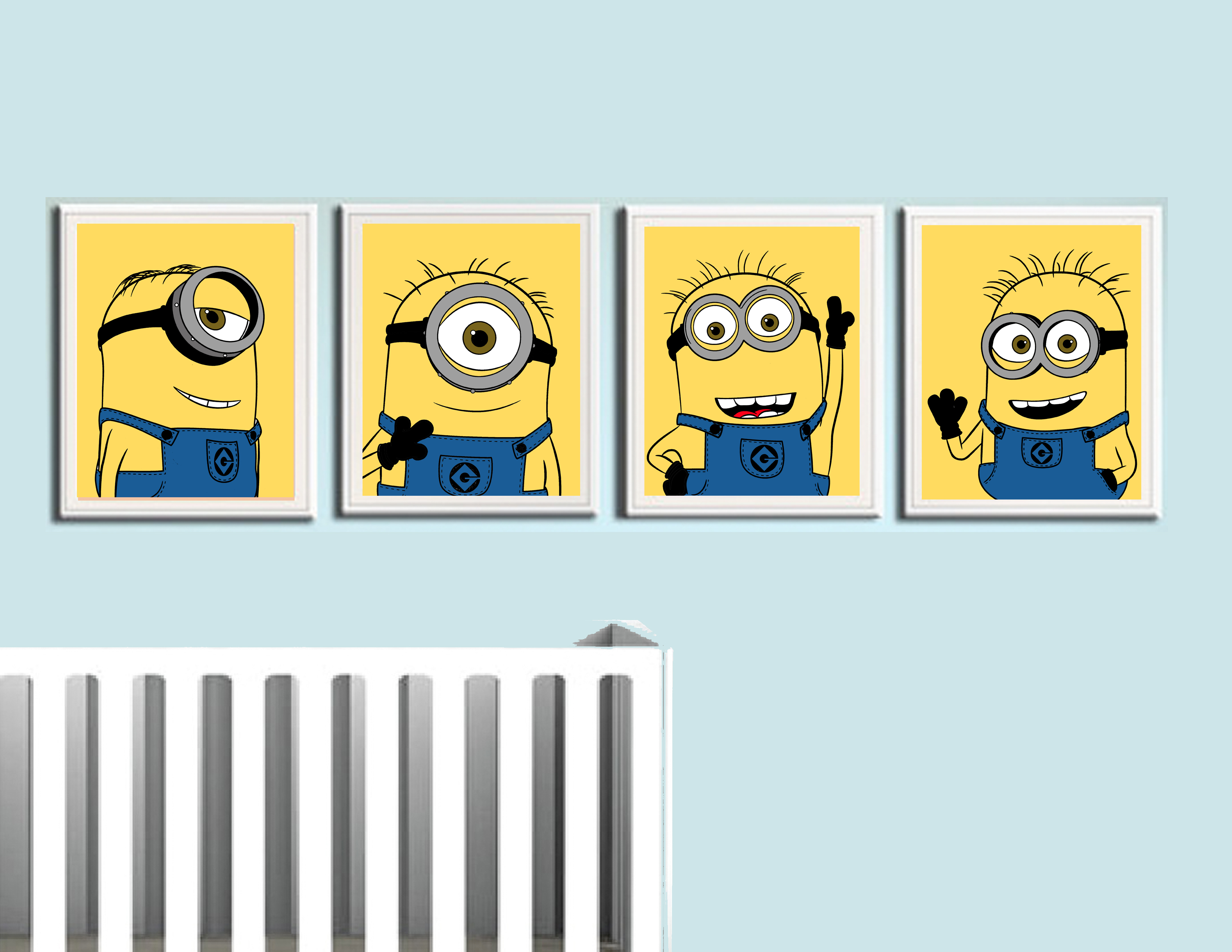 Glow In The Dark Wall Murals Despicable Me Minions Nursery Prints 4 Pack On Storenvy