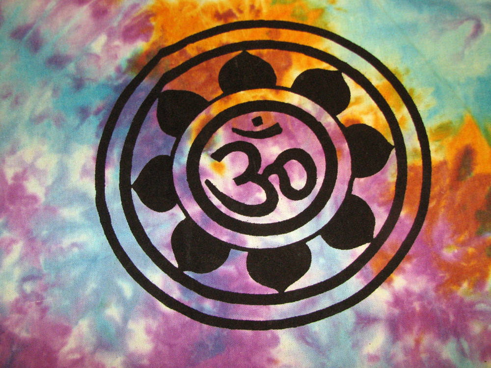 OM Aum YOGA Indian LOTUS Flower TIE DYE Hippie Wall ...