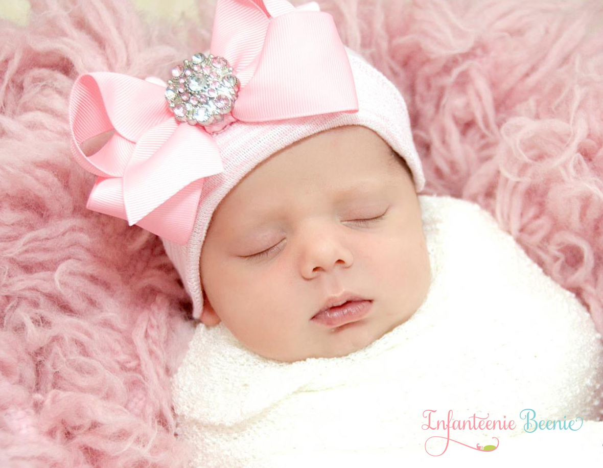 0190beaa513 Her First Bling Bow- Newborn Girl Hospital Hat- Newborn Girl Hat- Newborn  Girl- Baby Girl Hat- Baby Girl on Storenvy