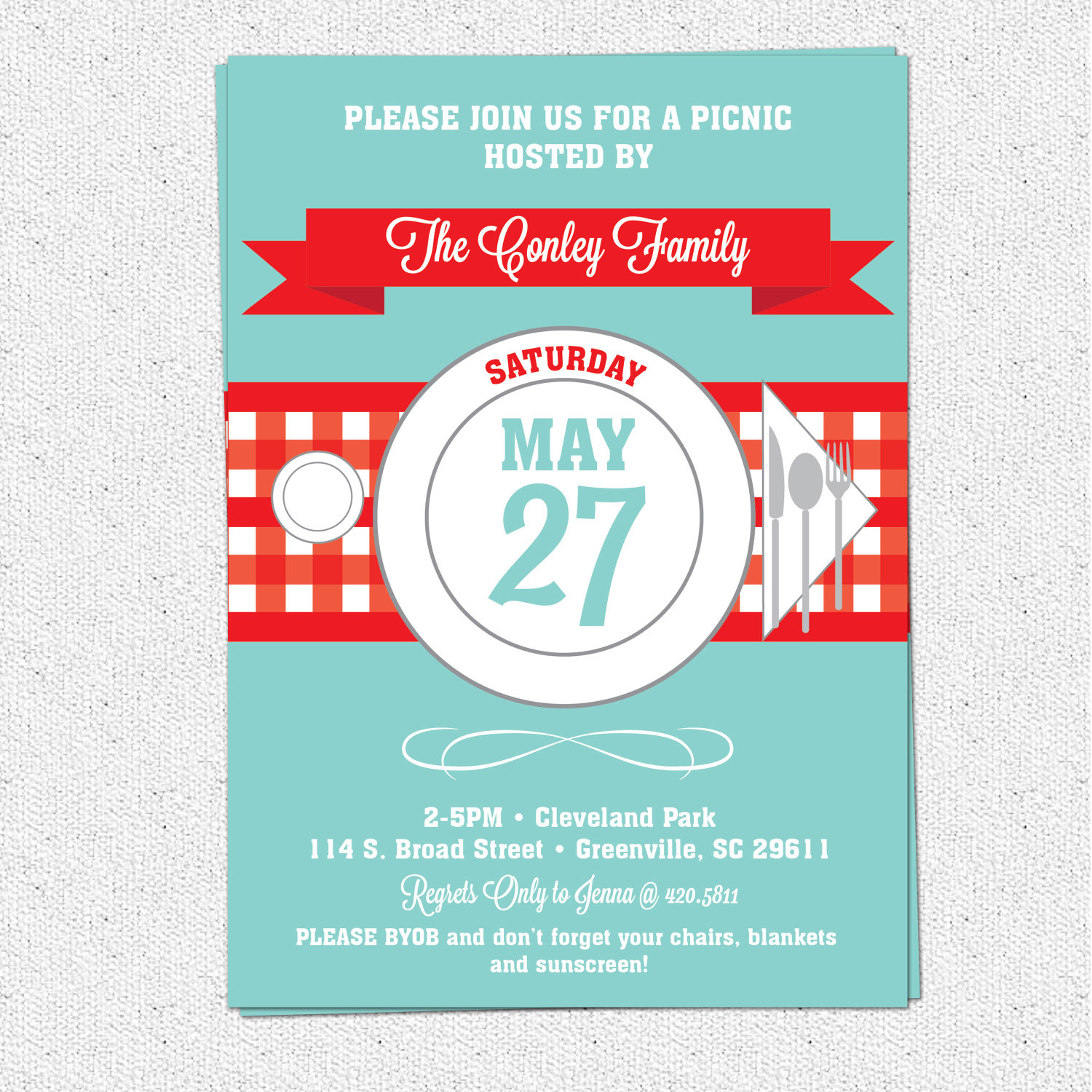 picnic invitations summer bbq barbecue july 4th checkered