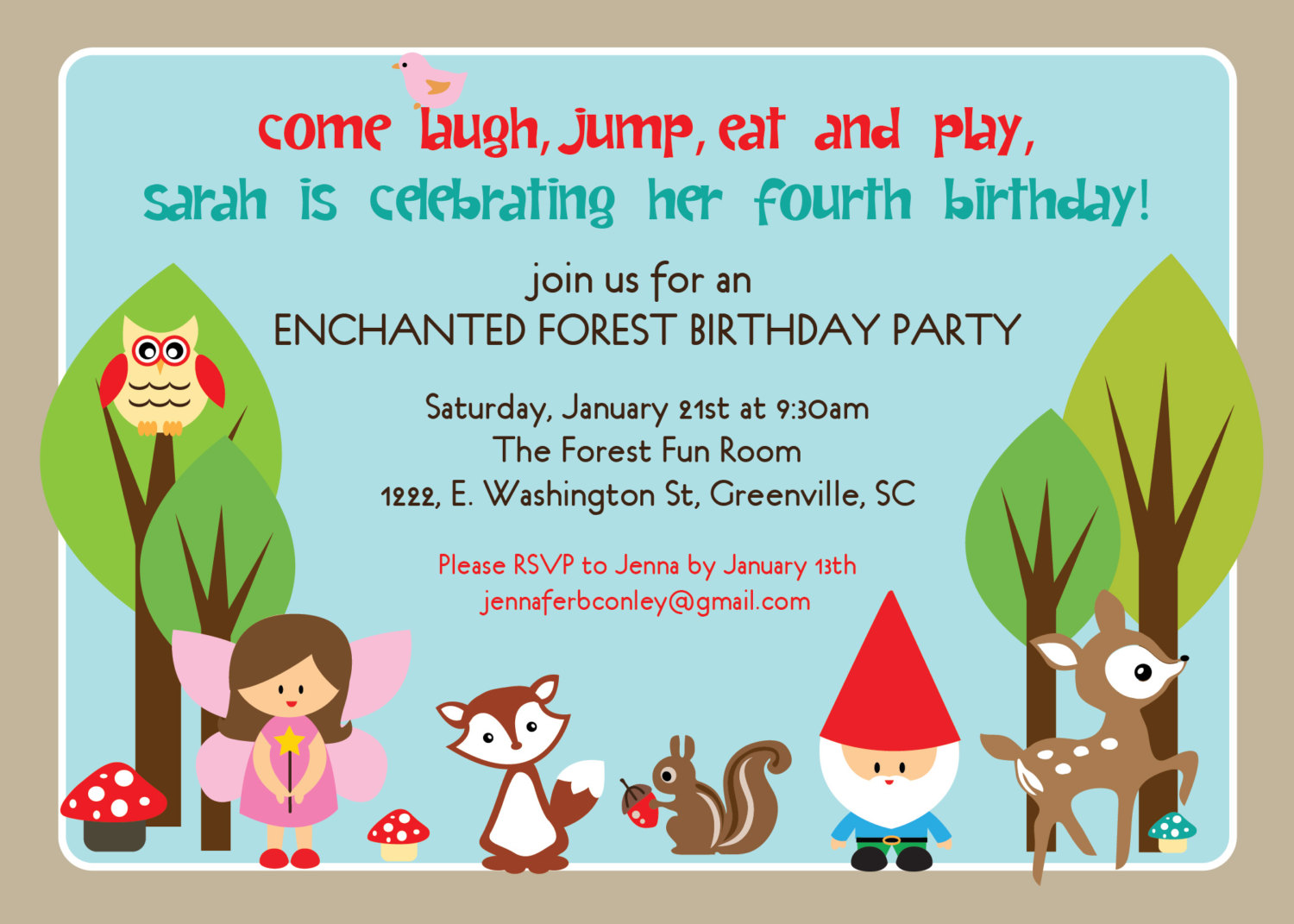 Woodland birthday invitations, enchanted forest, fairy, gnome.