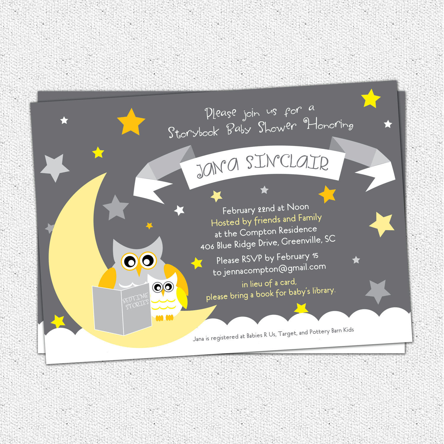 Blank Owl Baby Shower Invitations: Baby Shower Invitations, Story Book Owl, Moon And Stars