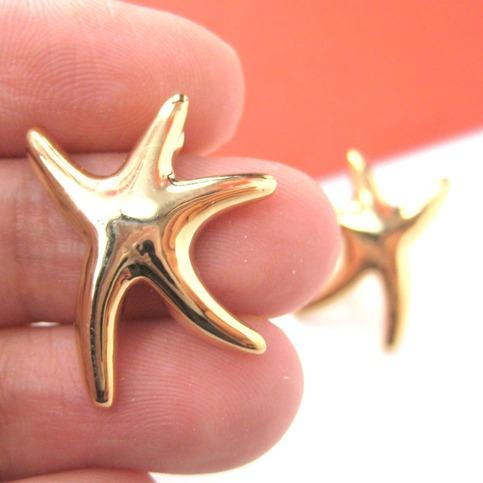 Simple Starfish Star Shaped Sea Animal Stud Earrings In