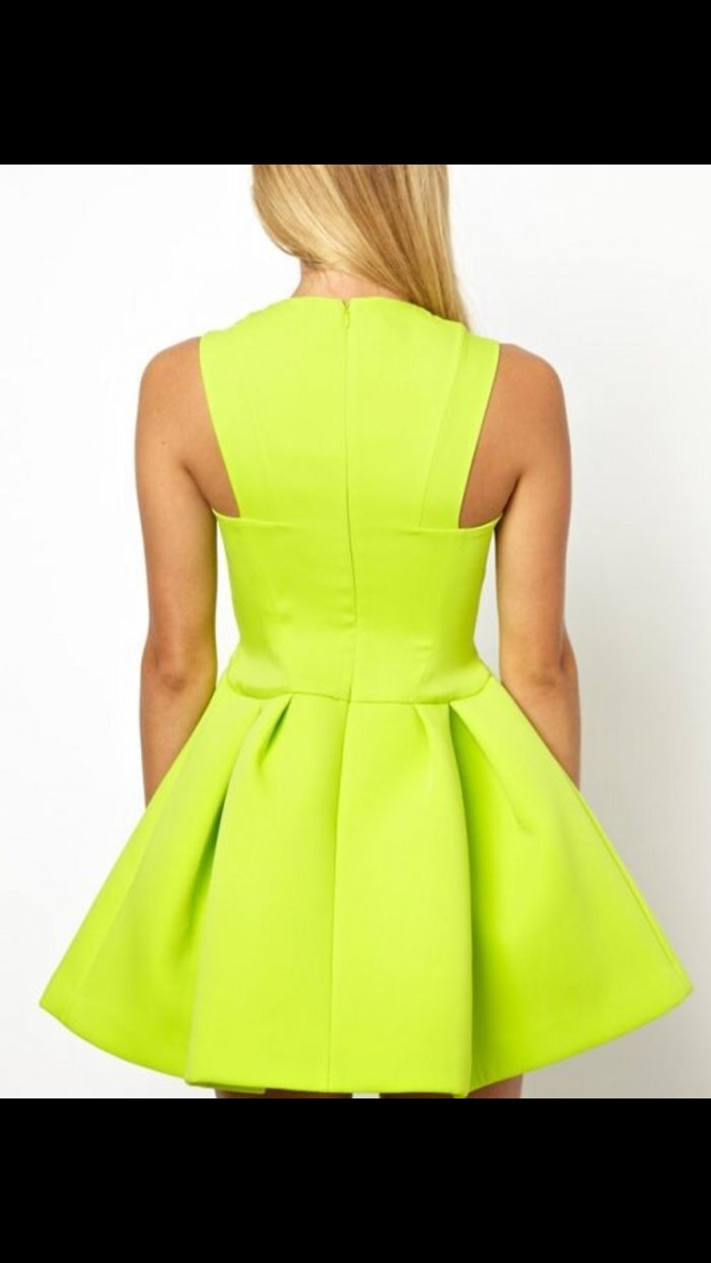 4e503d3dafeb Neon Green or Black Skater Dress on Storenvy