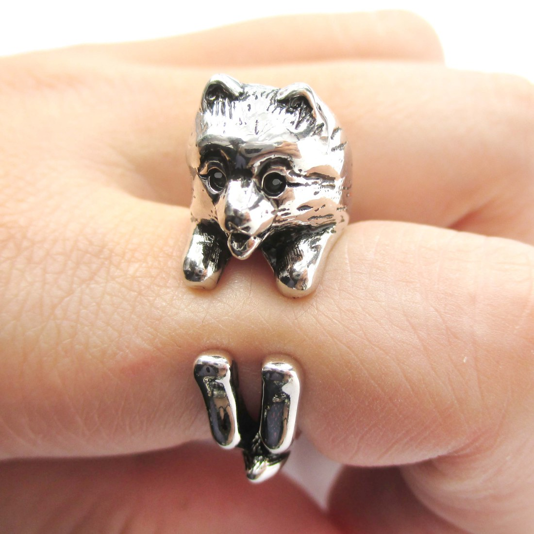 silver pomeranian realistic pomeranian shaped animal wrap ring in shiny 9743