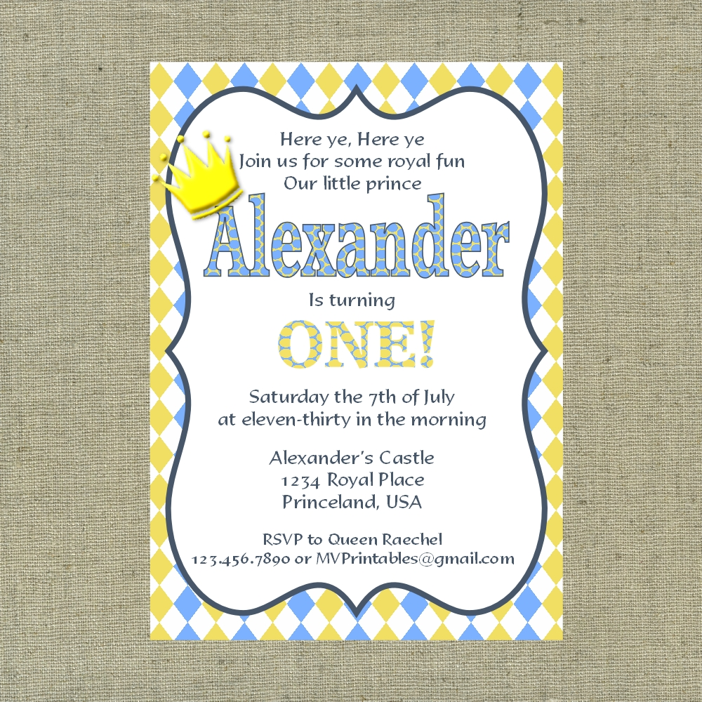 Little Prince Themed Blue and Yellow Custom Printable Invitation on
