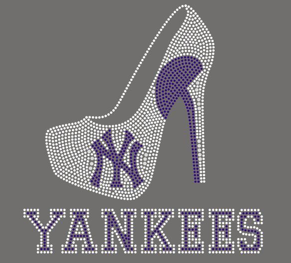 New York Yankee Heels Rhinestone Transfer Faithful Sparkle