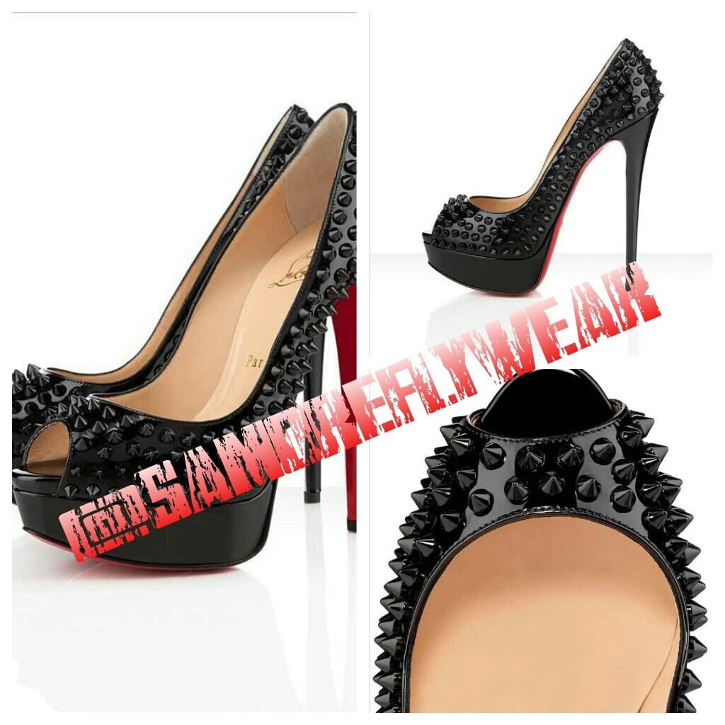 hot sale online e5296 582d9 Christian Louboutin Lady Peep Spikes 150mm Black from Samore Fly Wear